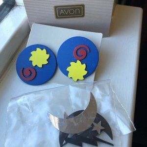 Retro 1980s Avon MAGNETIC COLLAGE Day Night Earrin